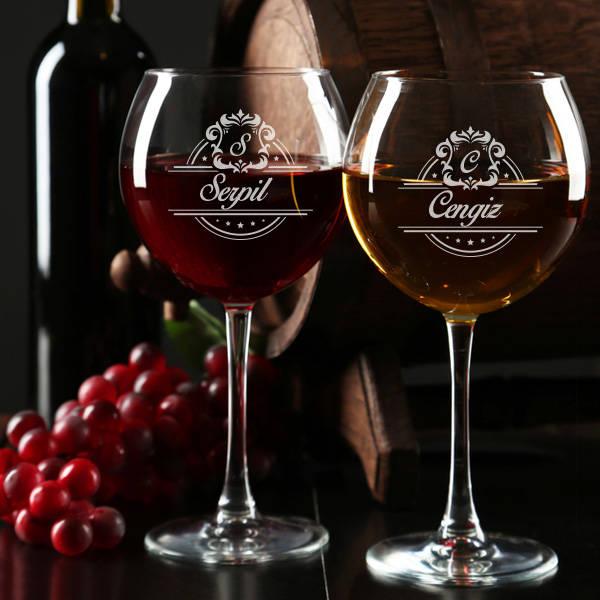 İsme Özel 2'li Şarap Kadehleri