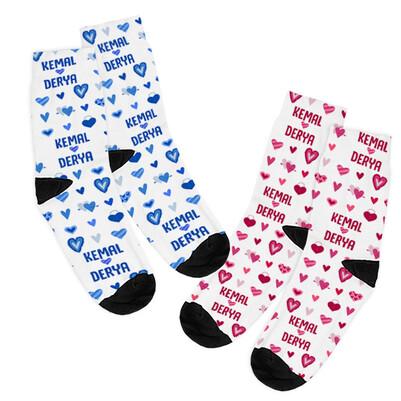 İsme Özel 2'li Sevgili Çorap Seti - Thumbnail