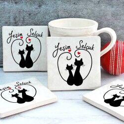 - İsme Özel Aşık Kediler Taş Bardak Altlığı