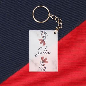 - İsme Özel Çiçek Desenli Pleksi Anahtarlık