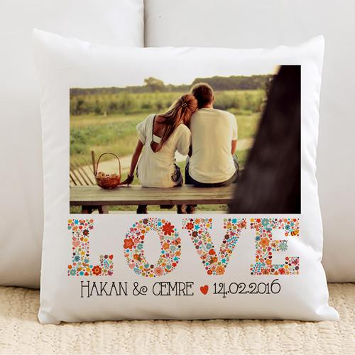 İsme Özel Fotoğraflı Love Yastık