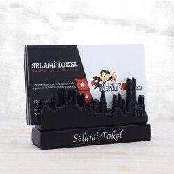 - İsme Özel İstanbul Silueti Masaüstü Kartvizitlik