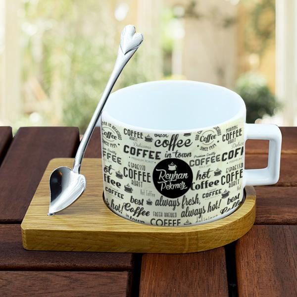 İsme Özel Kaşıklı Lüks Kahve Fincanı