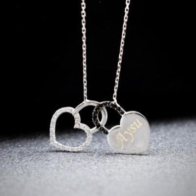 İsme Özel Kilitli Kalpler Bayan Kolyesi - Thumbnail