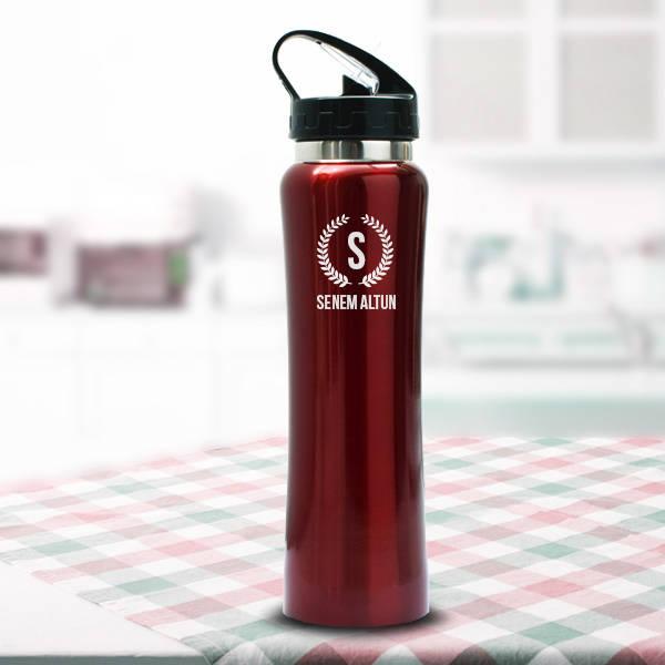 İsme Özel Kırmızı Çelik Matara 28 Cm.