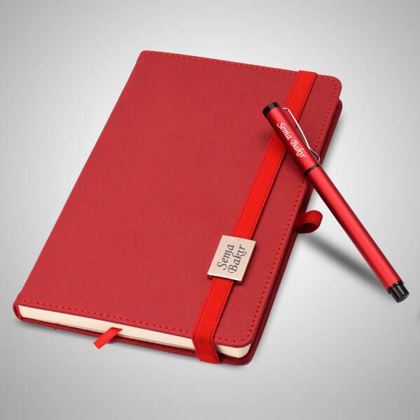 İsme Özel Kırmızı Defter ve Kalem Seti