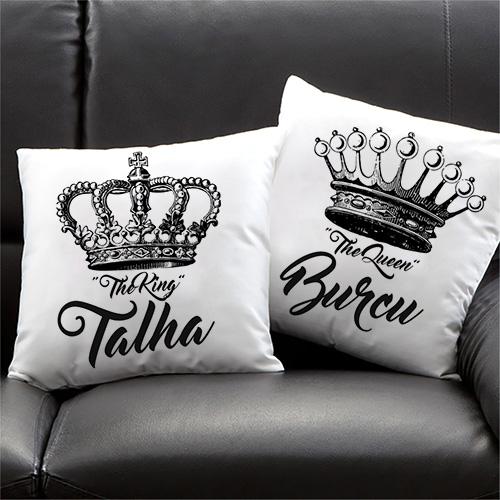 İsme Özel Kral ve Kraliçe Yastık Seti
