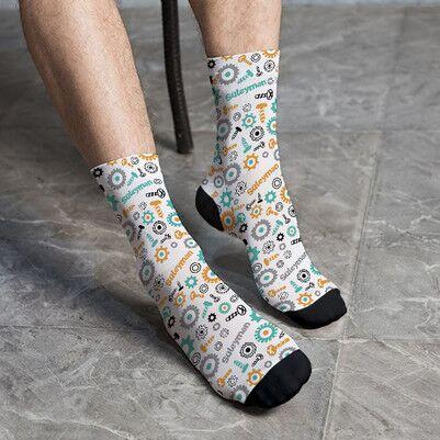 - İsme Özel Mekanik Tasarımlı Erkek Çorabı