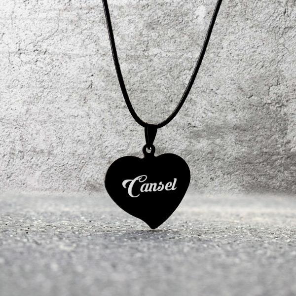 İsme Özel Metal Siyah Kalp Kolye