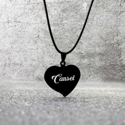 - İsme Özel Metal Siyah Kalp Kolye