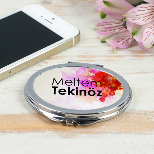 İsme Özel Metal Yuvarlak Makyaj Aynası