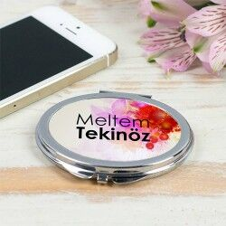 - İsme Özel Metal Yuvarlak Makyaj Aynası
