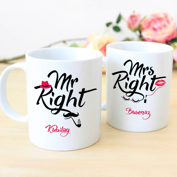 İsme Özel Mr And Mrs Right Kupaları
