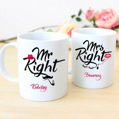 - İsme Özel Mr And Mrs Right Kupaları