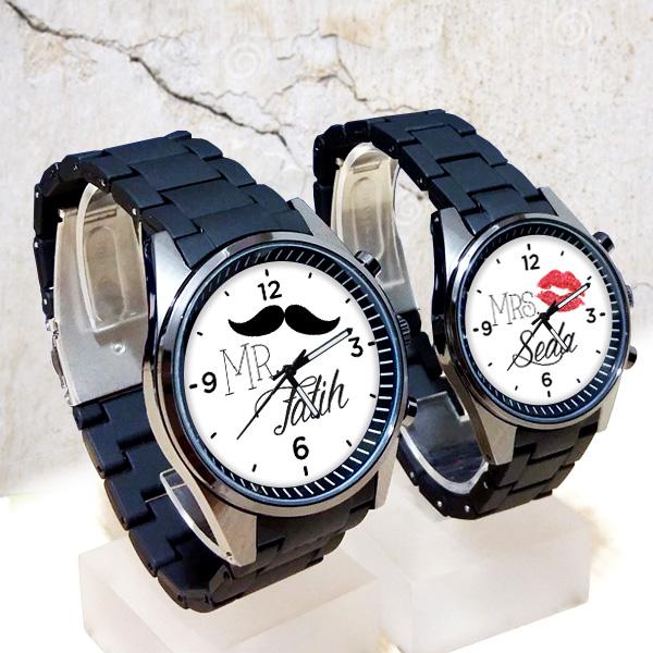 İsme Özel Mr & Mrs. Sevgili Kol Saatleri