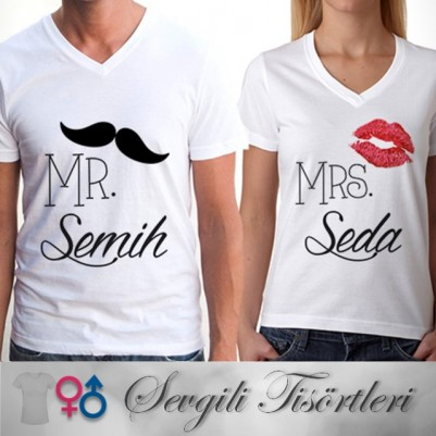 - İsme Özel Mr & Mrs. Sevgili Tişörtleri