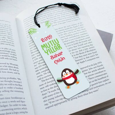 - İsme Özel Penguen Yılbaşı Kitap Ayracı
