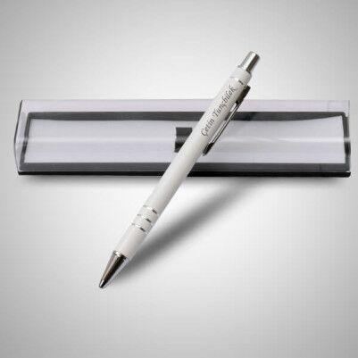 İsme Özel Şeffaf Kutuda Beyaz Kalem - Thumbnail