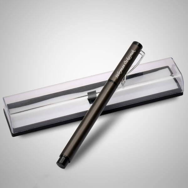 İsme Özel Şeffaf Kutuda Gri Kalem