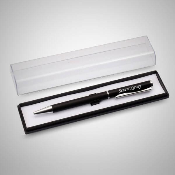 İsme Özel Şeffaf Kutuda Siyah Kalem