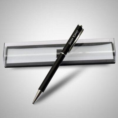 İsme Özel Şeffaf Kutuda Siyah Kalem - Thumbnail