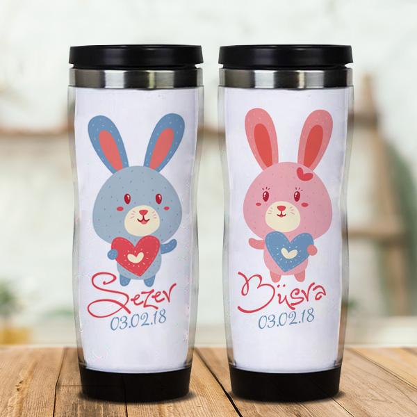 İsme Özel Sevimli Tavşanlar Sevgili Termosları