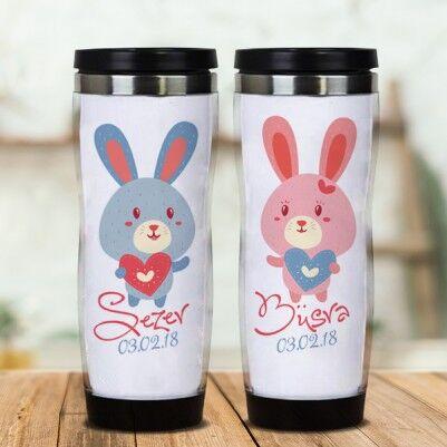 - İsme Özel Sevimli Tavşanlar Sevgili Termosları