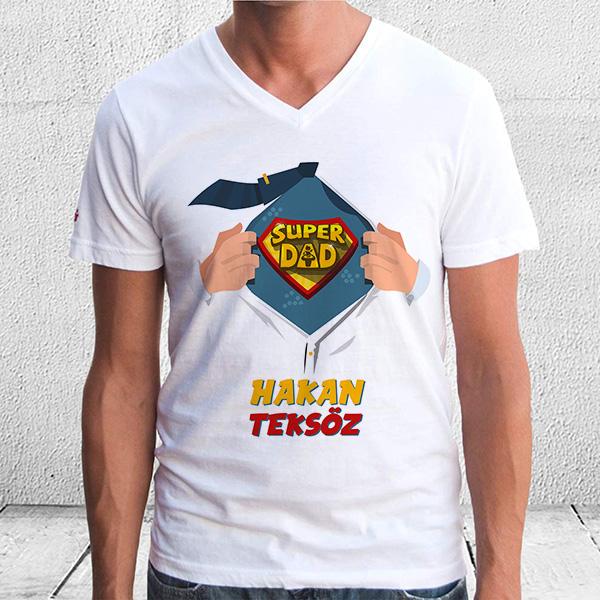 İsme Özel Super Dad Baba T-Shirt