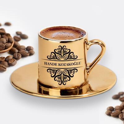 - İsme Özel Tasarım Gold Kahve Fincanı