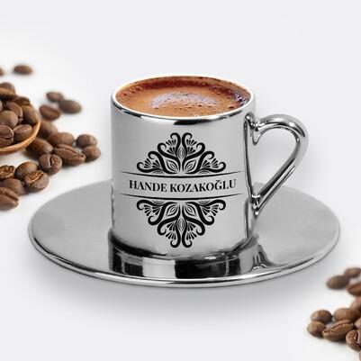 - İsme Özel Tasarım Silver Kahve Fincanı