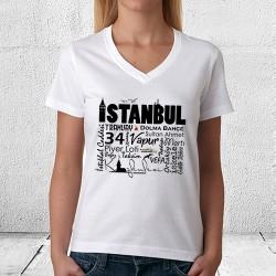İstanbul Temalı Baskılı Bayan Tişörtü - Thumbnail