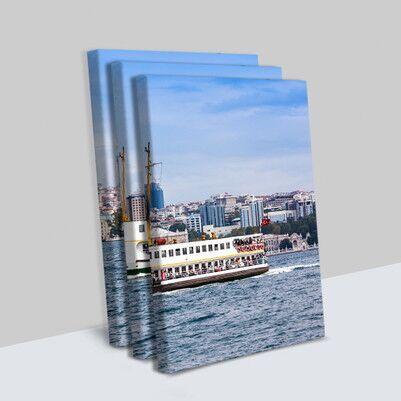 İstanbul Vapur Tasarımlı 3 Parça Tablo - Thumbnail