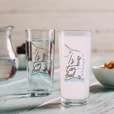 - İstanbul ve Balıkçı Temalı 2li Rakı Bardağı
