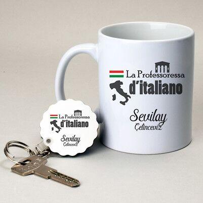 - İtalyanca Öğretmenine Hediye Kupa ve Anahtarlık