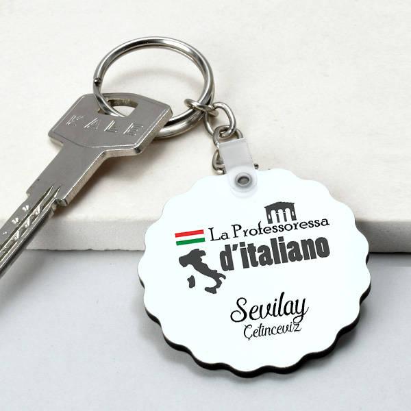 İtalyanca Öğretmenine Hediye Papatya Anahtarlık