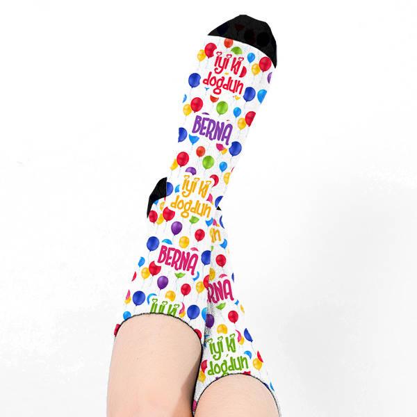 İyi Ki Doğdun İsme Özel Kadın Çorabı