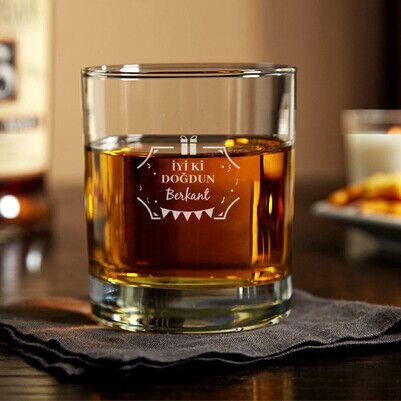 İyi Ki Doğdun İsme Özel Viski Bardağı - Thumbnail