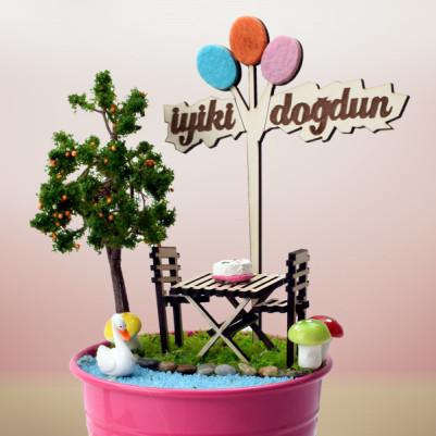 İyi ki Doğdun Mesajlı Minyatür Bahçe - Thumbnail