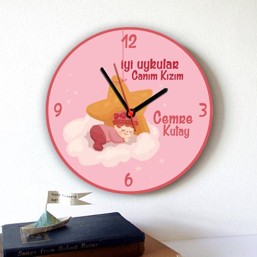 İyi Uykular Canım Kızım Duvar Saati