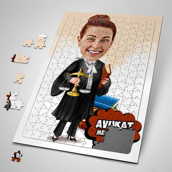 Kadın Avukat Karikatürlü Puzzle