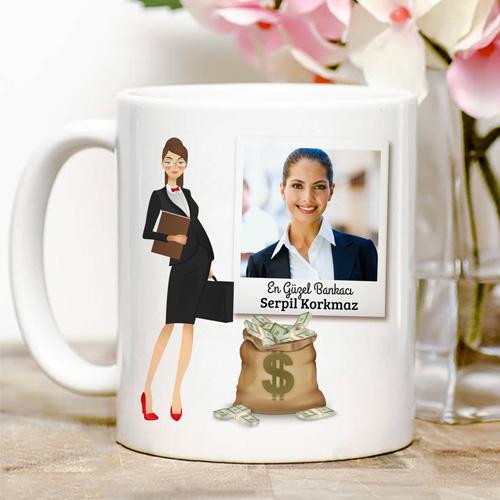 Kadın Bankacıya Özel Kupa Bardak