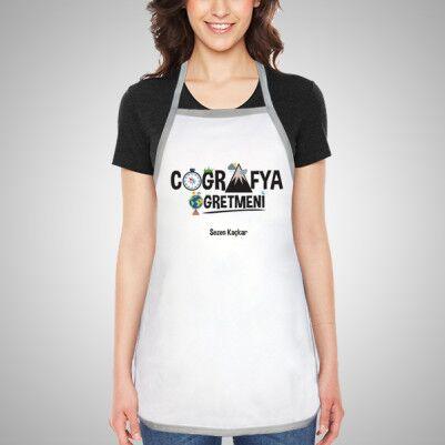 - Kadın Coğrafya Öğretmenine Özel Mutfak Önlüğü
