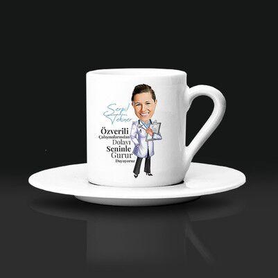 - Kadın Doktor Karikatürlü Kahve Fincanı