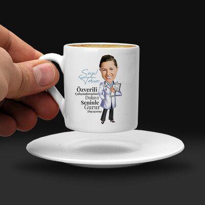 Kadın Doktor Karikatürlü Kahve Fincanı - Thumbnail