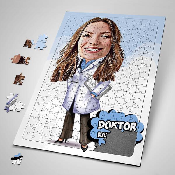 Kadın Doktor Karikatürlü Puzzle
