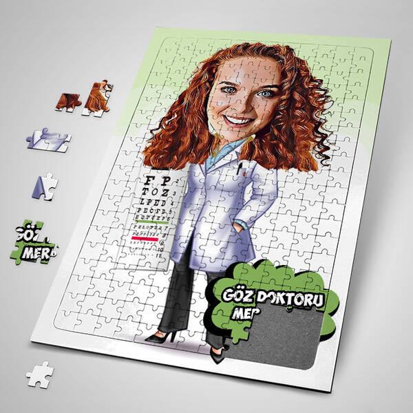 Kadın Göz Doktoru Karikatürlü Puzzle