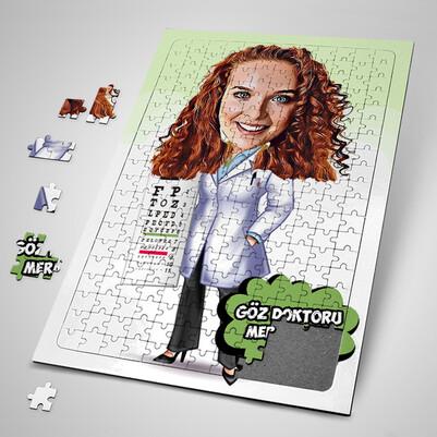 - Kadın Göz Doktoru Karikatürlü Puzzle