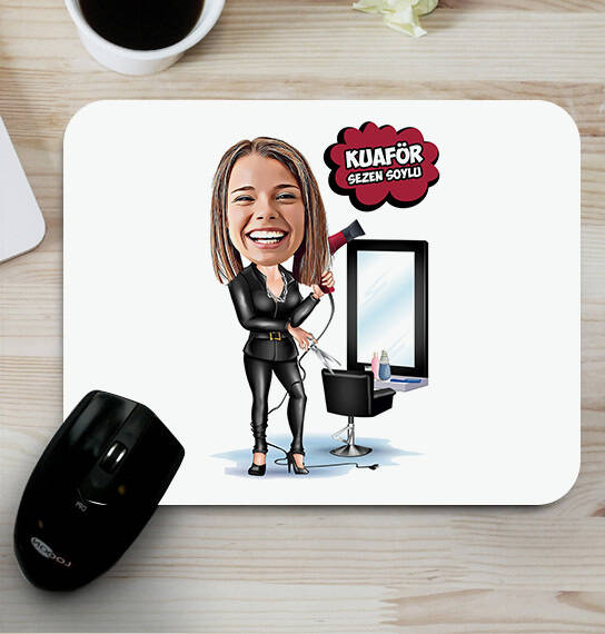 Kadın Kuaför Karikatürlü Mousepad