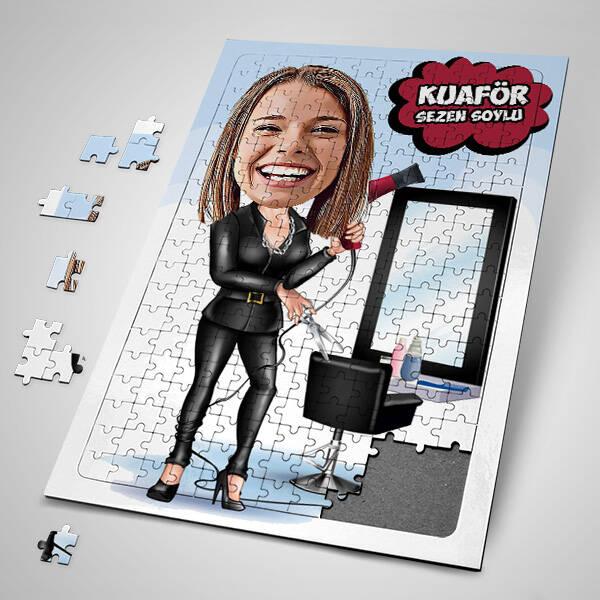 Kadın Kuaföre Özel Karikatürlü Puzzle
