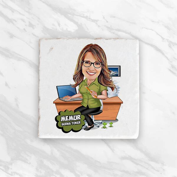 Kadın Memur Karikatürlü Ofis Hediye Kutusu